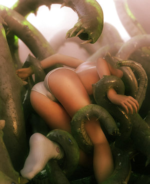 Pink holes get tentacle fucked