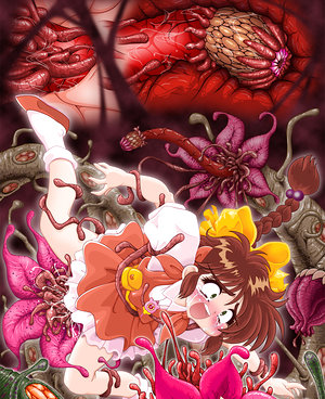 Drawn babes work some tentacles